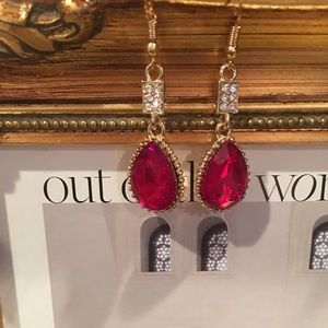 Jewelry - RED RUBY & CUBIC ZIRCONIA GOLD PLATED EARRINGS
